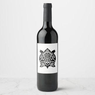 Black Silhouette Snapper Turtle Wine Label