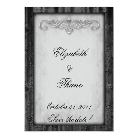 Black Silk and Parchment Goth Wedding Card