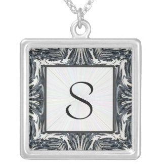 Black Silver Abstract Initial Necklace