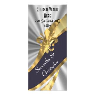 Black silver and gold wedding program customised rack card