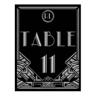 Black Silver Art Deco Gatsby Style Table Number 11 Postcard