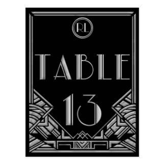 Black Silver Art Deco Gatsby Style Table Number 13 Postcard