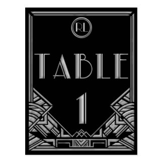 Black Silver Art Deco Gatsby Style Table Number 1 Postcard