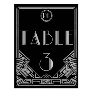 Black Silver Art Deco Gatsby Style Table Number 3 Postcard
