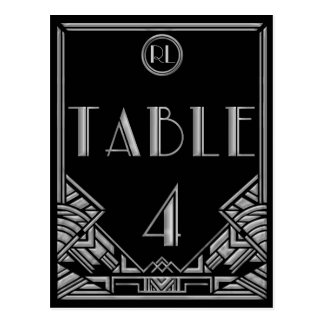 Black Silver Art Deco Gatsby Style Table Number 4 Postcard