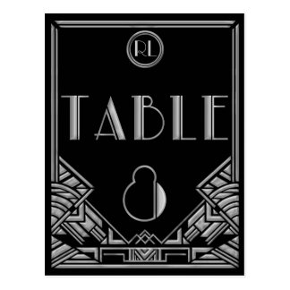 Black Silver Art Deco Gatsby Style Table Number 8 Postcard