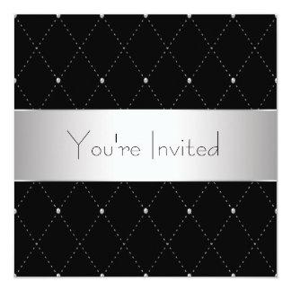 """Black Silver Black Tie Corporate Party 5.25"""" Square Invitation Card"""