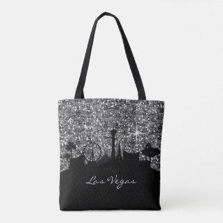 Black & Silver Confetti Glitter Las Vegas Skyline Tote Bag