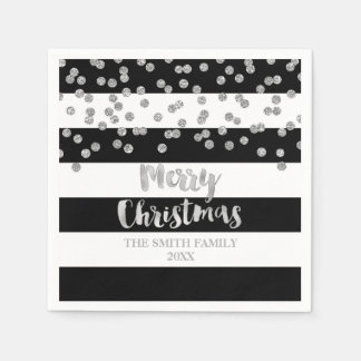 Black Silver Confetti Merry Christmas Napkin Disposable Serviettes