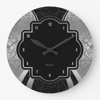 Black & Silver Damask Geometric Design Wall Clocks