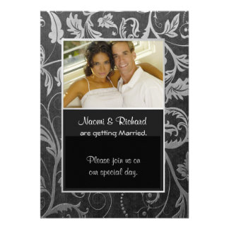 Black Silver Damask Photo Invitation Personalized Announcement