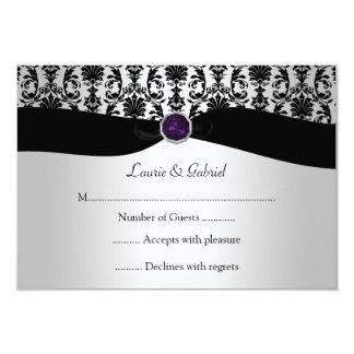 Black Silver Damask Purple Jewel RSVP Invitation