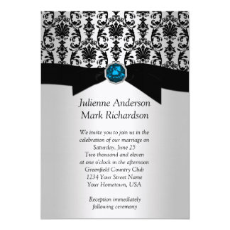 Black Silver Damask Turquoise Wedding Invitatio Card