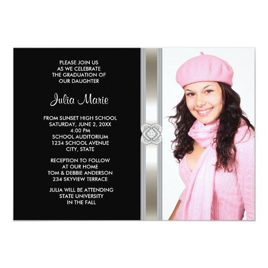 Black Silver Diamond Girl Photo Graduation Card