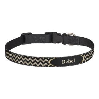 Black Silver Faux Glitter Chevron Personalized Pet Collar
