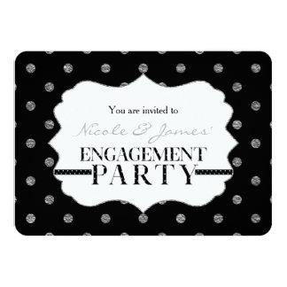 Black Silver Faux Polka Dots ENGAGEMENT Invitation