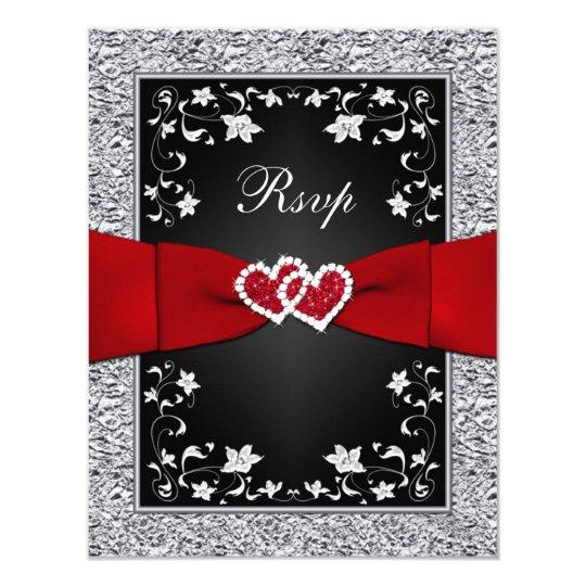 Black Silver Floral Hearts FAUX Foil RSVP Card