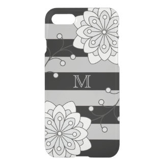 Black Silver Floral Striped Pattern Monogram iPhone 7 Case