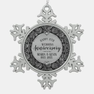 Black & Silver Frame 25th Wedding Anniversary Snowflake Pewter Christmas Ornament