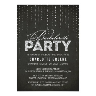 Black & Silver Glitter Look Bachelorette Party 13 Cm X 18 Cm Invitation Card