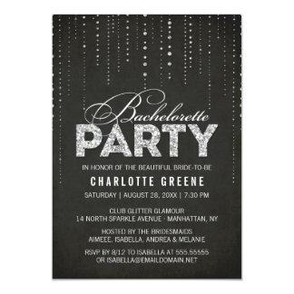 Black & Silver Glitter Look Bachelorette Party 13 Cm X 18 Cm Invitation Card