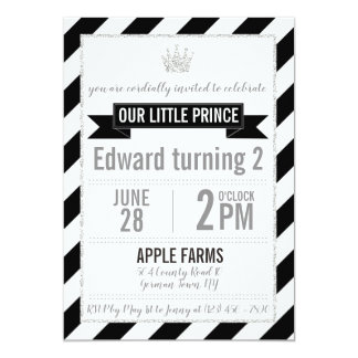 Black Silver Glitter Prince Birthday Invitation