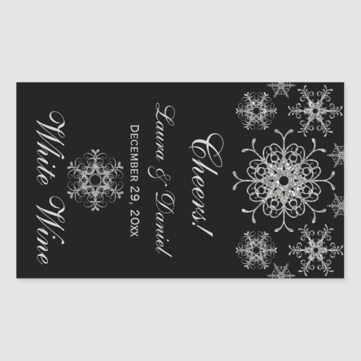 Black Silver Glitter Snowflakes Wine Label Sticker