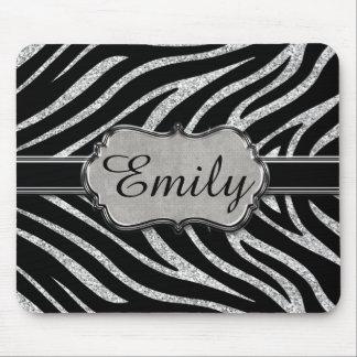 Black Silver Glitter Zebra Pattern Monogram Mouse Pad