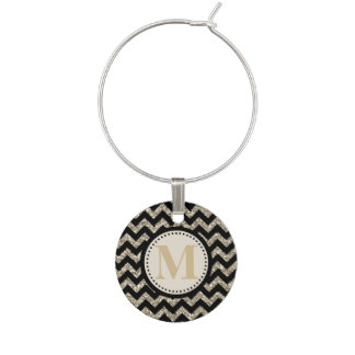 Black Silver Gold Faux Glitter Chevron Monogram Wine Charm