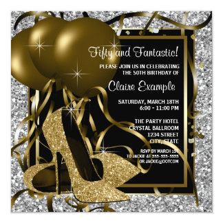 Black Silver Gold High Heels Womans Birthday Party 13 Cm X 13 Cm Square Invitation Card