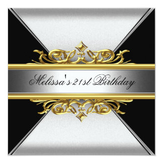 Black Silver Gold On Black 21st Birthday Party 13 Cm X 13 Cm Square Invitation Card