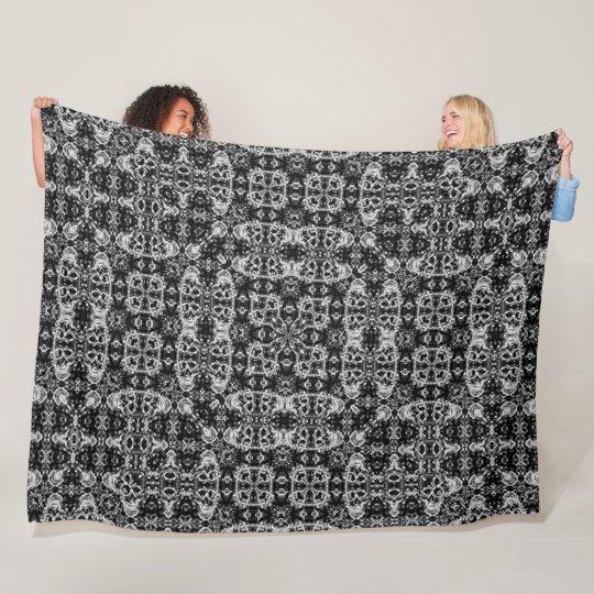 Black & Silver Gothic Skulls Satin Foulard Pattern Fleece Blanket