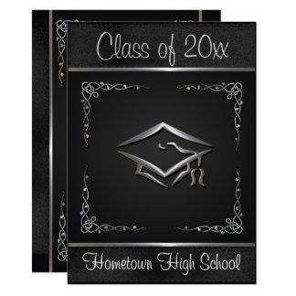 Black Silver Graduation Invitations