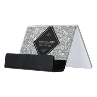 Black & Silver Gray Glitter  Template Desk Business Card Holder