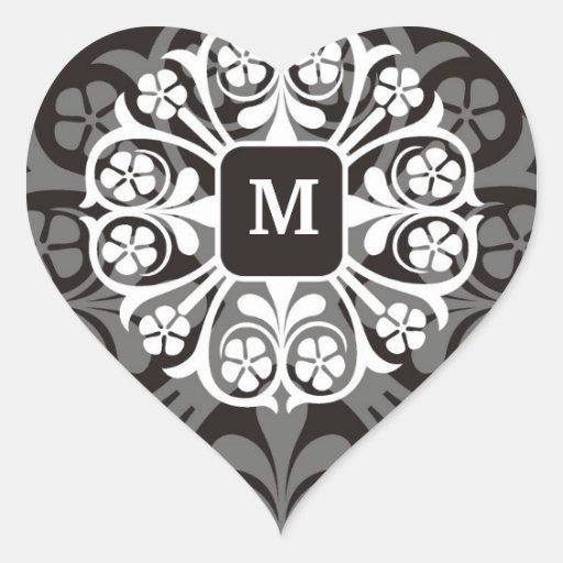 Black Silver Initial M Monogram Heart Stickers