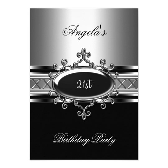 Black Silver Jewel 21st Elegant Birthday Party Card