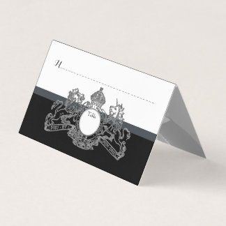Black Silver Lion Unicorn Guest Table Number Card