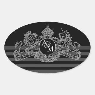 Black Silver Lion Unicorn Regal Emblem Monogram Oval Sticker