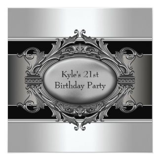 Black Silver Mans 21st Birthday Party Card