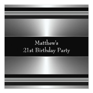 Black Silver Mans 21st Birthday Party 5.25x5.25 Square Paper Invitation Card