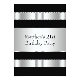 Black Silver Mans 21st Birthday Party Personalized Invites
