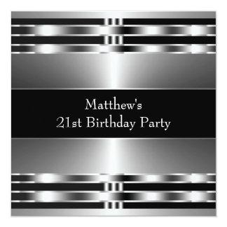 "Black Silver Mans 21st Birthday Party 5.25"" Square Invitation Card"