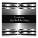 Black Silver Mans 21st Birthday Party Invitations