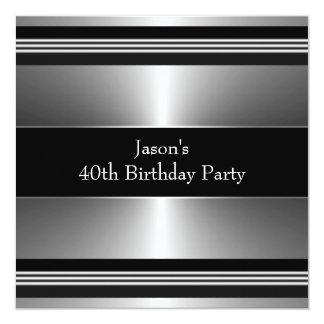 Black Silver Mans 40th Birthday Party 13 Cm X 13 Cm Square Invitation Card