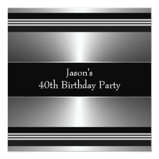 Black Silver Mans 40th Birthday Party Card