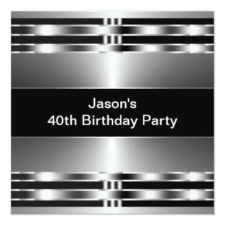 Black Silver Mans 40th Birthday Party Personalized Invitation