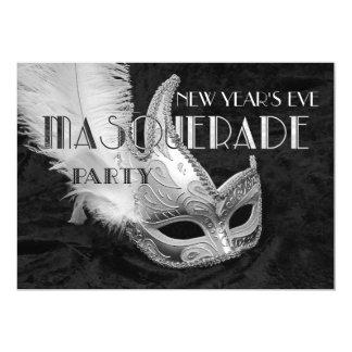 Black Silver Masquerade Ball Party Invitation