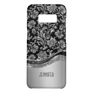 Black & Silver Metallic Look With Damasks Pattern Case-Mate Samsung Galaxy S8 Case