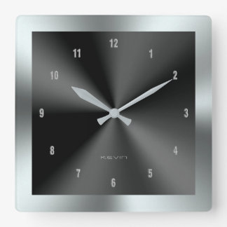 Black & Silver & Metallic Stainless Steel Square Wall Clock