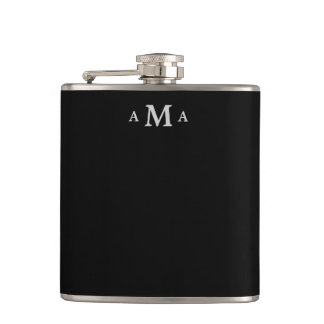 Black Silver Monogram Hip Flask